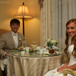 Eating dinner upstairs in the bridal suite